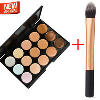 Fragrant 15 colors eyes/face Concealer Palette + rt essential foundation brush primer makup Base Beauty Free shipping maquiagem