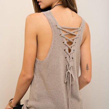 Latte Lace Up Top
