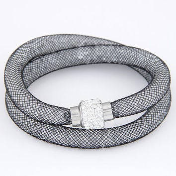 Women Jewelry 2 strands Crystal Mesh Wire Bracelet Bangle Tiny Crystal Stones Charm Fit Mesh Rhinstone Crystal bracelet