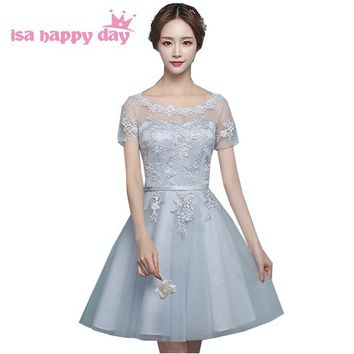 robe de soiree 2018 bridemaids party dress elegant short gray bride maid dresses with sleeves for weddings under 100 B3932