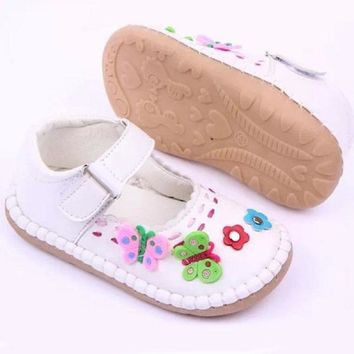 ITAAR Girl Shoes 3 Color Baby's Toddler Girls Antiskid PU Leather Flowers Lovely Prewalkers Crib Shoes