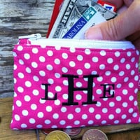 Custom Monogrammed id wallet / keychain wristlet / college gift/ teenage girl/ teacher gift/ pink with white polka dots
