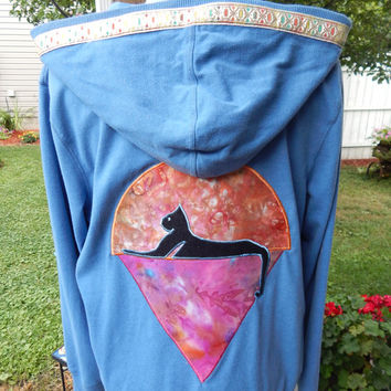 Upcycled Zip Up Hoodie Blue Grateful Dead Cats Under Stars Womens Size XL Patchwork  Hippie clothes, boho chic, hoodie,recycled hoodie