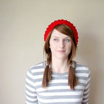 Textured Slouchy Hat with Large Pom Pom - For Her - Really Red