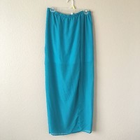 Teal Long Maxi Skirt With Slit By Bella D Size L