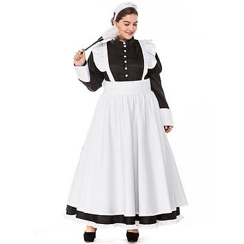 S-3XL Black And White Long French Maid Dress Halloween Maid Costume