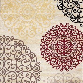 3804 Ivory Medallion Contemporary Area Rugs