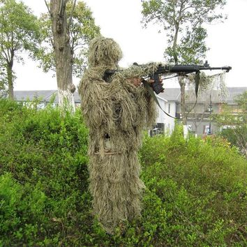 Outdoor CS Bionic Grass Ghillie Suit Yowie Sniper Tactical Camouflage Sets Hoody rifle covers Hunting Combat Jungle Clothes