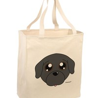 Cute Pug Dog - Black Large Grocery Tote Bag by TooLoud