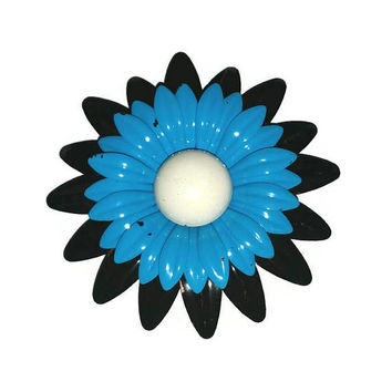 Vintage Big DAISY Blue & Black Brooch 60s MOD Enamel Flower Power Broach Floral Pin 1960s Jewelry Mad Men Twiggy Fashion Bridesmaid Gift Her