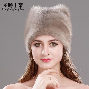 2017 Russian Mink Fur Hat Women Winter Cap Genuine Fur Knitted Beanies Ladies Skullies Hat Fur Hat Solid Soft warm hat female