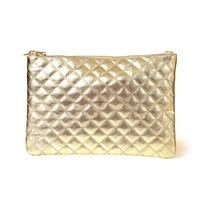 Gold Metallic Faux Leather Quilted Clutch