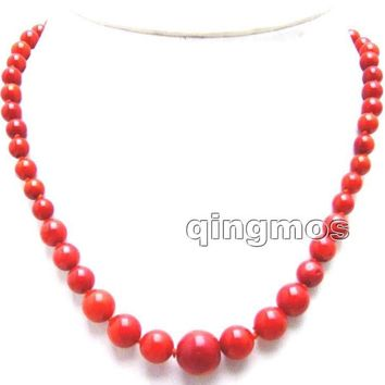 SALE 6-14mm Round Red Natural High Quality Coral 17'' Necklace -nec5953 Wholesale/retail Free shipping