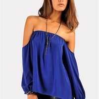 Perfection Off The Shoulder Top - Royal Blue at Necessary Clothing