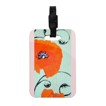 "Christen Treat ""Vintage Poppy"" Orange Flower Decorative Luggage Tag"