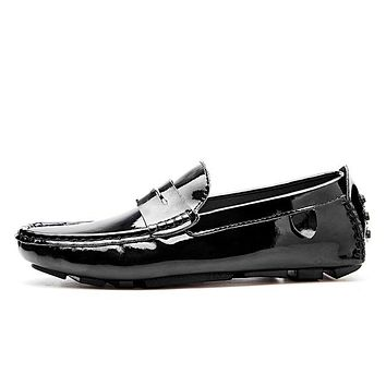 Men penny loafers patent leather moccasins burgundy driving shoes men  leather loafers white