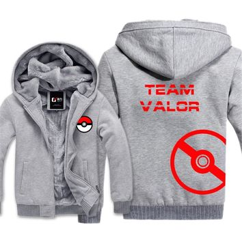 Go Team Valor Team Mystic Team Instinct Cosplay Jacket Sweatshirts Thicken Hoodie Zipper CoatKawaii Pokemon go  AT_89_9