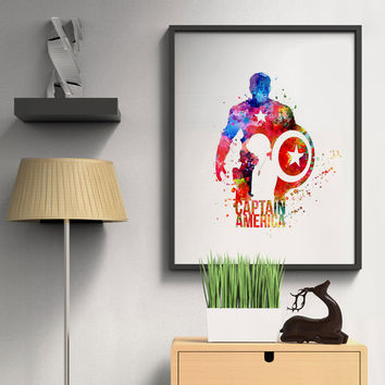 Captain America Watercolor Art Wall Hanging Home Decor Kids Room Poster