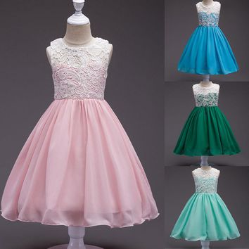 Summer Kids Girls Lace Chiffon Wedding Princess Dress Pink Green Blue Sleeveless Pageant Party Ball Gown Dresses Girls Clothes