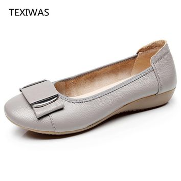 TEXIWAS Women Shoes Woman Genuine Leather Flat Shoes Casual Work Loafers Ballet Flats New Fashion Women Flats Plus Size 34 - 43