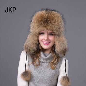 Real Silver fox fur hat men and women ski cap thickened great warm hat