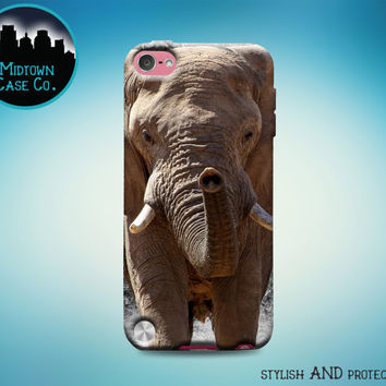 Majestic African Elephant Face Eyes Trunk Tusks Baby Animals Rubber Case for iPod Touch 6th Generation Gen or iPod Touch 5th Gen