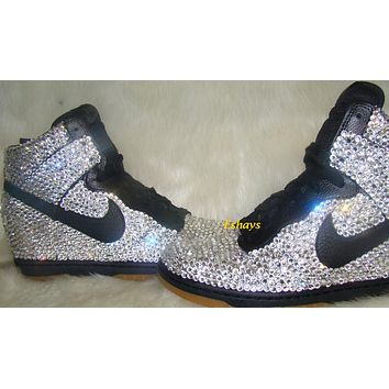 Bling Crystal Nike Dunk Sky Hi Wedge Sneakers 4314372759