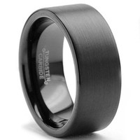 7MM Men's Black Brushed Tungsten Carbide Ring Wedding Band Sizes 6 to 15