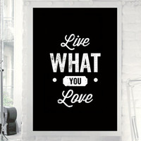 """Home and Living Home Decor Wall Decor """"Live What You Love"""" Inspirational Print Art Typography Poster"""