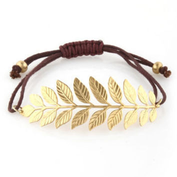 Gold Laurel Bracelet - Leaf Bracelet
