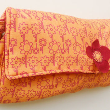 Orange Diaper Clutch in Flower Pattern with Accent