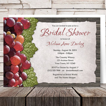 Rustic Winery Grapes Bridal Shower Invitations - Red Grapes Leaves and Wood