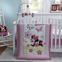 Disney Minnie's Garden 3 Piece Comforter Crib Bedding Set