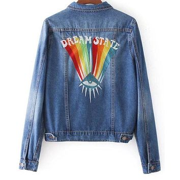 DCCKJ1A Eye rainbow heavy industry embroidery lapel denim jacket