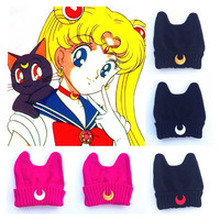 Sailor Moon Luna Inspired Cat Hand Patched by MoonShineApparel