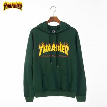 Thrasher Tide brand classic flame letter printing couple hooded sweater green