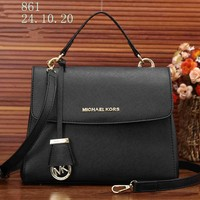 """Michael Kors"" Classic Simple Fashion  All-match Single Shoulder Messenger Bag MK Women Flip Handbag"