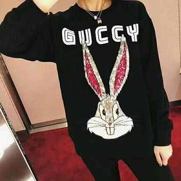 GUCCI Trending Women Men Stylish Sequins Rabbit Long Sleeve Round Collar Sweater Top Sweatshirt