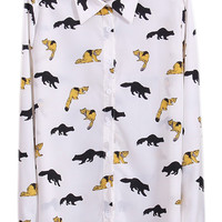 ROMWE Various Fox Print White Shirt