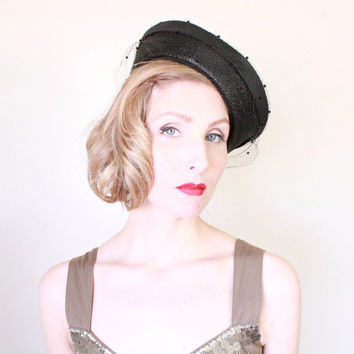 1940s Hat / VINTAGE / Straw Hat / 40s Hat / Sailor Hat / Breton / Nautical / Summer Hat