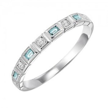 14k White Gold Diamond and Emerald Cut Aquamarine Birthstone Ring