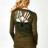 Featuring super soft jersey/rayon fabric, full length sleeves, cutout back with lace crochet skull appliqué, slip on style with two side of pocket, open front. Unlined.