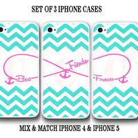 Personalized Mint Chevron Pink BFF Best Friends iPhone Case -3 iPhone 4 4s Cases