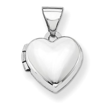 14kt White Gold Plain Faced Double Photo Girls Locket Pendant