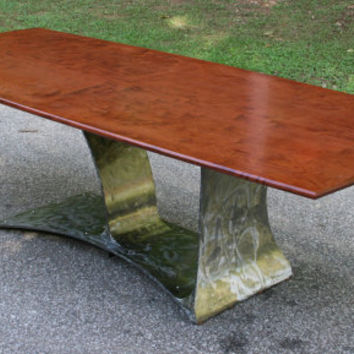 "Modern Industrial Dining Table, Wood Top, Metal Base, Solid Figured Bubinga, Steel, ""High Dive"""