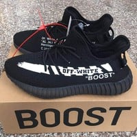 ADIDAS x Off White Yeezy Boost 350 V2 Woman Men Fashion Sport Sneakers Shoes