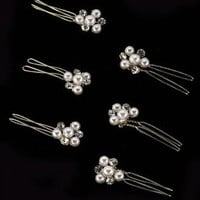 Silver Pearl and Crystal Cluster Hair Jewelry - David's Bridal