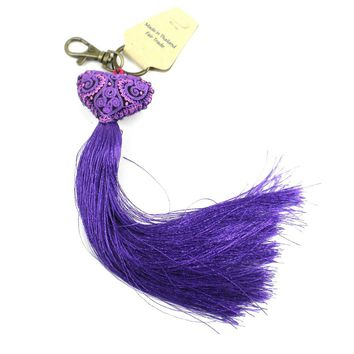 Heart Tassel key chain - Purple - Global Groove (A)