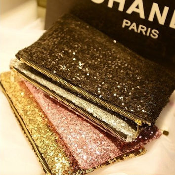 Chic Glitter  bridal clutches, sequin clutch purse, wedding clutch, evening bag,set of 8
