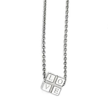 Love Box Necklace in Stainless Steel - Lobster Claw Cable Chain